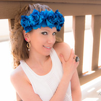 Blue Rose Flower Crown, Flower Headband, Flower Halo, Floral Halo, Festival Clothing, Coachella Crown, Electric Daisy Carnival, Ezoo, PLUR