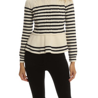 RED Valentino Striped Knit Sweater | Blue&Cream