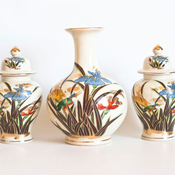 Instant Collection- Vintage Japanese Vase and Ginger Jars, Matched Set, Kingfisher Iris Print, Made in Japan, Asian Home Decor