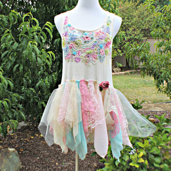Fairy Top / Upcycled Clothing / Tattered Flirty Raw Romantic / Pixie Woodland Mori Fairie Shirt Hand Dyed Clothes / Size Medium