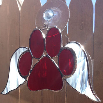 Red Stained Glass Paw Print With Angel Wings
