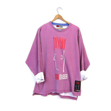 90s Urban Streetwear Shirt Purple Pigment Dyed RED ERASER Oversized Grunge Hip Hop Pullover Tshirt Hipster Athletic Top Baggy Vintage Large