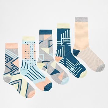 Urban Eccentric Graphics Socks In 5 Pack