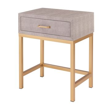 Durham Faux Shagreen 1-Drawer End Table Chronicle Gray