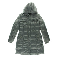 DKNY Womens Down Hooded Puffer Coat