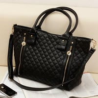 Black Leather Large Office Lady Quilted Shoulder Tote Bag