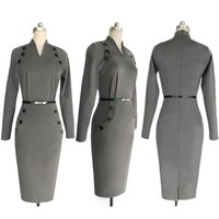 Women Military Dress Button V Neck Pencil Bodycon Dresses With Long Sleeves Plus Size Work Office Dress Retro Aliexpress India