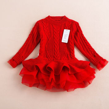 Brand Kids Girls Knitted Sweater Dresses Princess Pullovers sweaters Princess Dress with lace shrugs for Autumn Winter 2-8Y