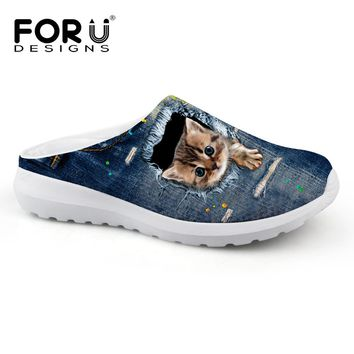 FORUDESIGNS Vintage Denim Animal Printed Men Summer Sandals Breathable Mesh Beach Water Slippers Male Pet Cat Casual Flats Shoes