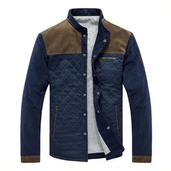 Corduroy Jackets Men Fashion Casual Stand Collar Jacket And Coat Patchwork Design Spring Autumn Slim Outwear
