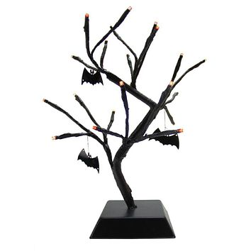 "15"" Pre-Lit B/O Black Spooky Halloween Table Top Tree with Bats - Orange LED Lights"