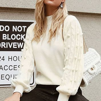 What's Going On White Long Lantern Sleeve Cable Knit Pompom Mock Neck Pullover Sweater