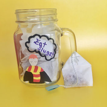 Ron weasley mug, harry potter mug, weasley is our king, don't let the muggles get you down- with 5 bags of Ron's orange spice herbal tea