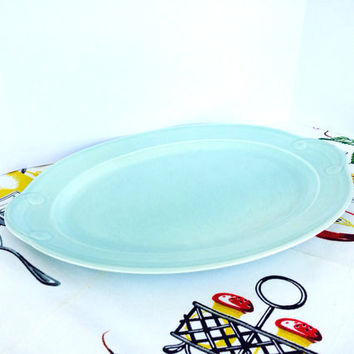 Vintage 1950s Lu-Ray Serving Platter Aqua Blue Turquoise Art Deco Vintage Kitchen TST Taylor Smith Taylor Vintage China
