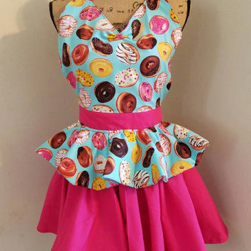 Donuts - donut  - shop  - coffee  - shop - bakery - waitress  - diner  -  pinup - rockabilly-  50's housewife - style - apron