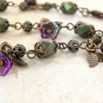 Purple and Green Flower Bracelet - Vintage Style Jewelry Czech Bead Flower Dangle Bracelet - Copper Jewelry Peacock Bracelet Nature Jewelry