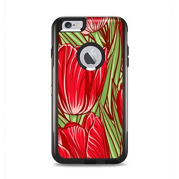 The Sketched Pink & Green Tulips Apple iPhone 6 Plus Otterbox Commuter Case Skin Set