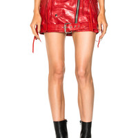 Adaptation Classic Leather Moto Skirt in Red | FWRD