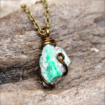 Rough Emerald Necklace - Natural Emerald Jewelry - Raw Stone Jewelry - Wire Wrapped Stone Necklace - Gypsy Boho Jewelry - Bohemian Necklace