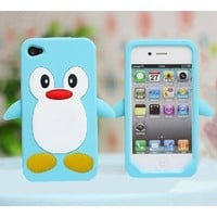 Blue Penguin Silicone Soft Case Cover For iPhone 4 4G 4S