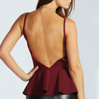 Louise Open Back Peplum Top