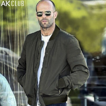 AK CLUB Brand Men Jacket Fast & Furious 7 Baseball Jacket Collar Nylon Jacket For Men Casual Clothing Army Green Navy 1504074