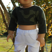 18 inch doll clothes,green camo crop top and white ripped skinny jeans