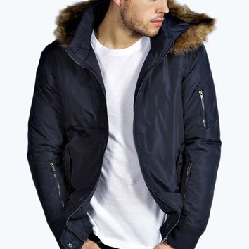 Bomber Jacket with Faux Fur Parka Hood