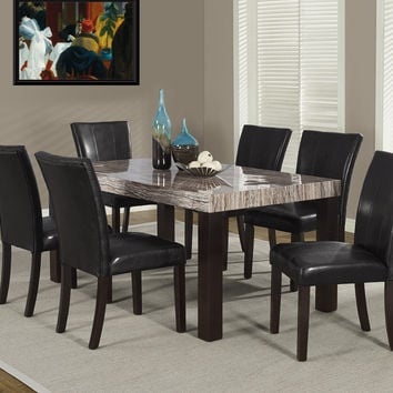 """Brown Tone Laquered Marble-Look 38""""X 64"""" Dining Table"""
