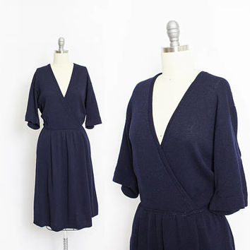 Vintage ST JOHN Dress 1970s - Wool Santana Knit Navy Blue Wrap Day Dress - Large