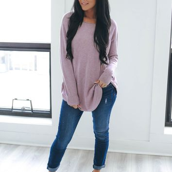 Sweet On You Sweater - Dusty Lavender