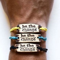 Bracelet by MudLOVE | Be The Change | Multiple Band Colors | Stretchable Band