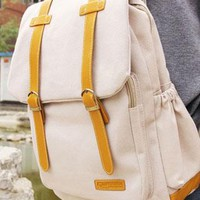 Leisure Cute Color Mixing Canvas Backpack