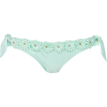 River Island Womens Mint green 3d flower bikini briefs