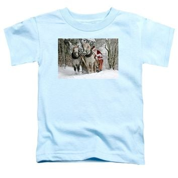 Santa Sleigh With Horses - Toddler T-Shirt