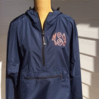 Monogrammed Rain Jacket-Pullover-Charles River-Monogram Jacket-Monogram 1/4 zip-Monogram quarter zip jacket-Navy-Plus Size Rain Jacket