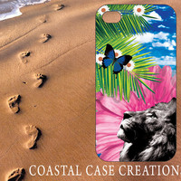 Apple iPhone 4 4G 4S 5G Hard Plastic or Rubber Cell Phone Case Cover Original Trendy Stylish Lion Flowers Palm Tree Beach Design