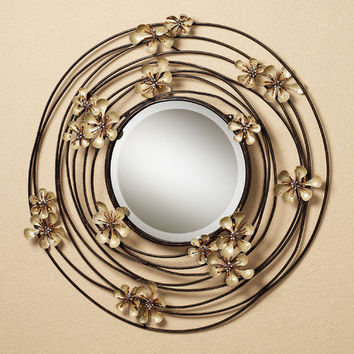 Floral Serenity Round Wall Mirror