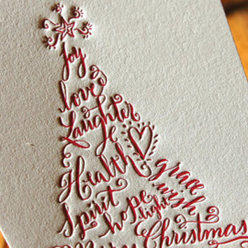 Letterpress Christmas Cards set of 50 Christmas Trees