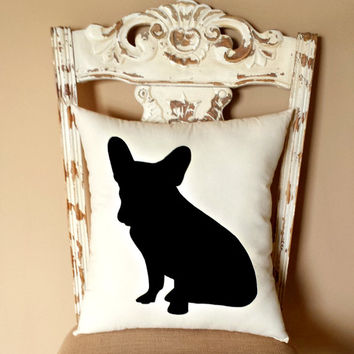 French Bulldog Silhouette Throw Pillow/ Dog Silhouette/ Decorative Pillow/ Home Decor/ Pets/ Dog Pillow/ Frenchies/Dorm **FREE SHIPPING**