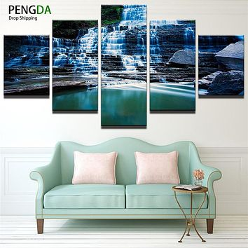 Modern Canvas Painting Art Modular Pictures 5 Panels PENGDA Waterfall Wall Art Pictures Painting For Living Room HD Printed