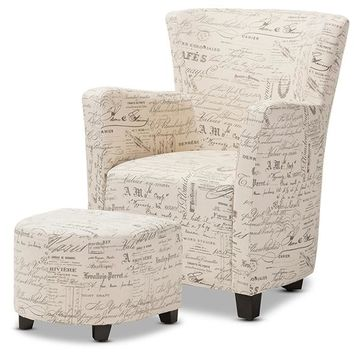 Baxton Studio Benson French Script Patterned Fabric Club Chair and Ottoman Set Set of 1