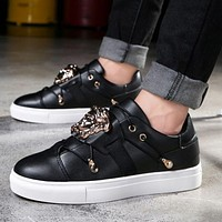 Versace summer new men and women with the same paragraph wild casual thick-soled shoes F/A