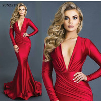 Long Sleeve Winter Evening Dresses Sexy Deep V Neck Red Formal Gowns Women Jersey Party Wear Vestidos De Festa Comprid CPD105