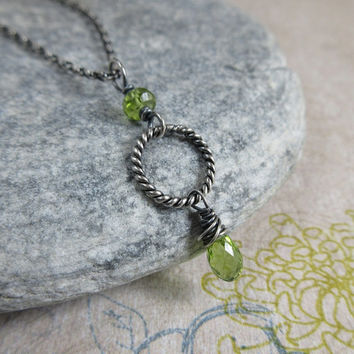 Peridot Necklace, Sterling Silver Chain, Twist Ring Peridot Pendant, August Birthstone Jewelry