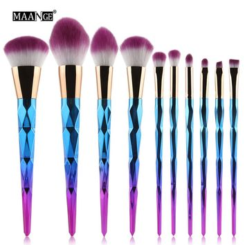 MAANGE 10pcs Makeup Brushes Set Diamond rainbow handle Cosmetic Foundation Blusher Powder Blending Brush beauty tools kits