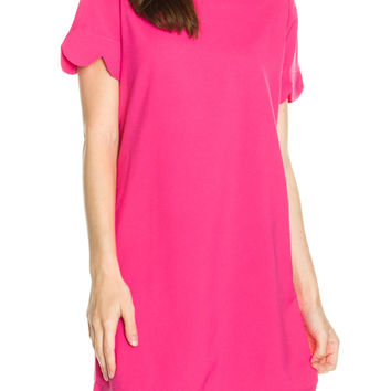 Short Sleeve Scalloped Dress- Hot Pink
