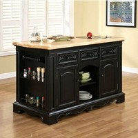 Pennfield Kitchen Island with Natural finished top and Black Sand-Through finish