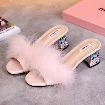 Miu Miu Women Fashion Casual Heels Shoes Slipper Shoes-1