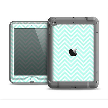 The Light Teal & White Sharp Chevron Apple iPad Air LifeProof Nuud Case Skin Set